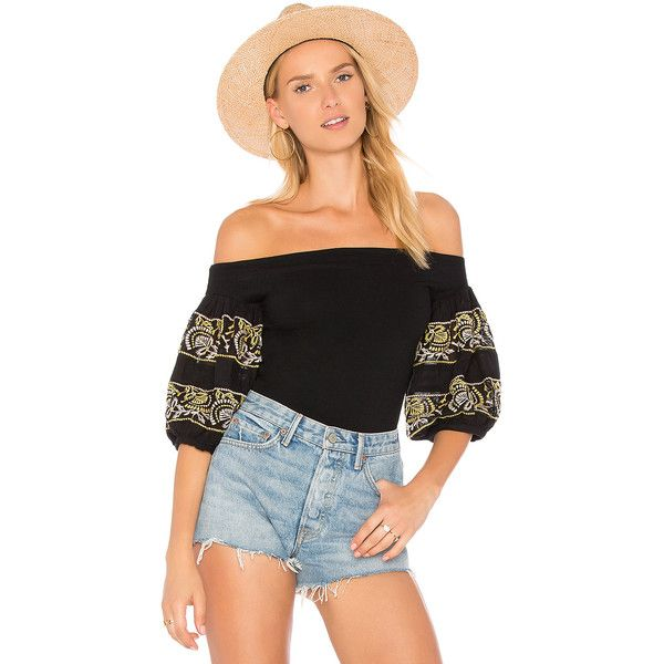 Free People Rock With It Top (€46) ❤ liked on Polyvore featuring tops, blouses, free people blouse, embellished top, sleeve top, free people tops and embellished sleeve top