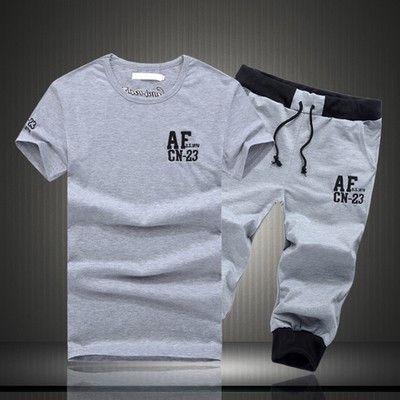 Men AF Short-Sleeved T-shirt And Short Summer Clothe Leisure Wear Cotton/Polyester
