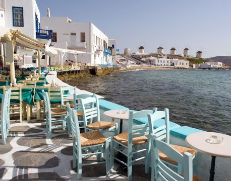 Mykonos, Greece. I spent three magical weeks here with my Greek friend Chris. This is the restaurant where he worked, and where we first met.