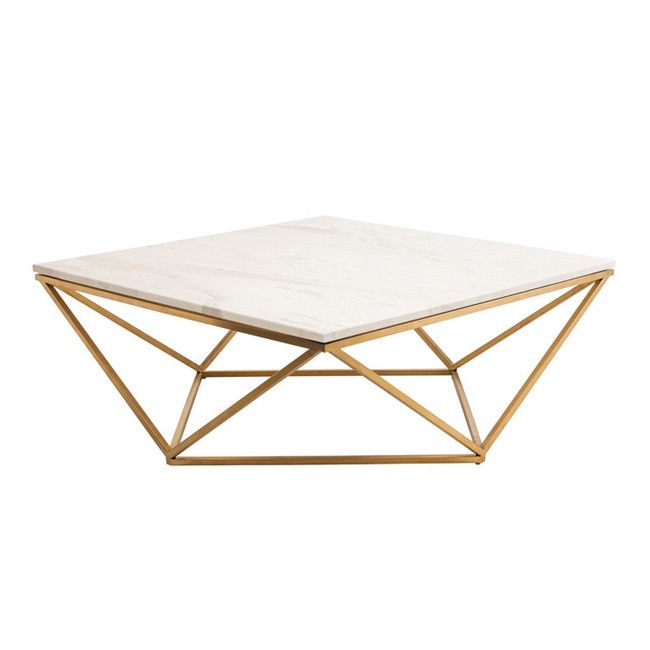 """OUR BESTSELLER! A striking coffee table with gold brushed legs in a geometric design and a square marble top. Also available as a side table in either gold or black. - Dimensions: 36""""L x 36""""W x 14.5""""H"""