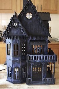 OOAK 1/12 scale handmade/built and painted Gothic Witches house. Comprises of 6 rooms and 3 floors; ground floor, first floor and attic rooms.  The 'worn gothic' effect is a paint finish I created using techniques developed in my fine art practice. A fabulous backdrop for creating your own miniature spooky gothic scenes and also great for halloween. It looks fantastic at night with flickering lights added!