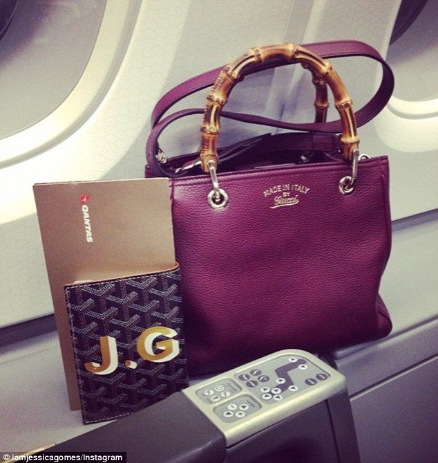 Flying in style! Jessica Gomes shared a photo of her designer bags next to her First Class...