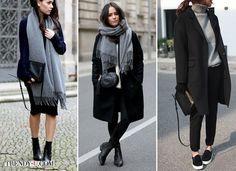 Черное пальто и шарф или свитер серого цвета