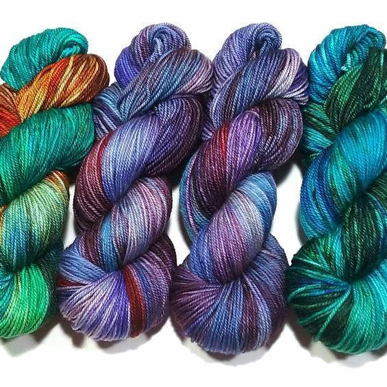 """From her you tube video--left Algae, Delphinium and Juniper on """"Heather"""" (merino/cashmere/nylon), sport. Available as dyed to order, see info in profile."""