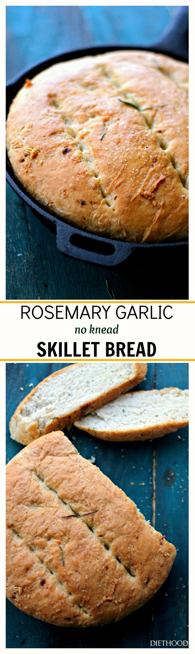 Rosemary Garlic No-Knead Skillet Bread – Warm, homemade and incredibly flavorful no-knead bread that is so easy to prepare, you'll want to make it again and again!