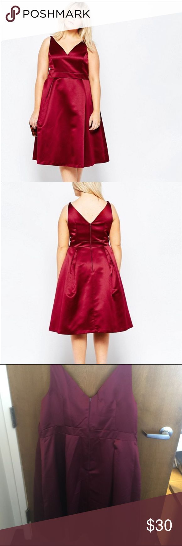 Asos Curve Wine Colored Dress Wine Colored Satin Dress perfect for a wedding or formal bridal shower. Size US 22. Only worn to take photos. The picture shows how the dress would fit without shapewear. I wear a size 24 the dress is a size 22 ASOS Curve Dresses