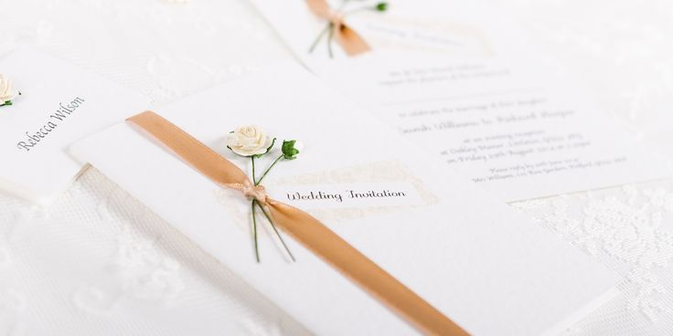 Rosy Handmade Wedding Invitation Design - paper roses and ribbon