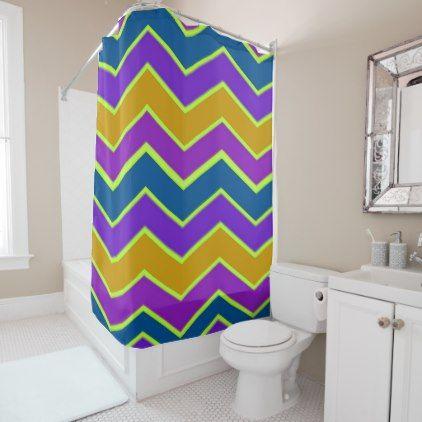 Bright Chevron Trimmed Yellow Shower Curtain - shower curtains home decor custom idea personalize bathroom