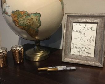 Wedding Sign Globe Guest Book Sign Globe Guest Book by RecipeBox