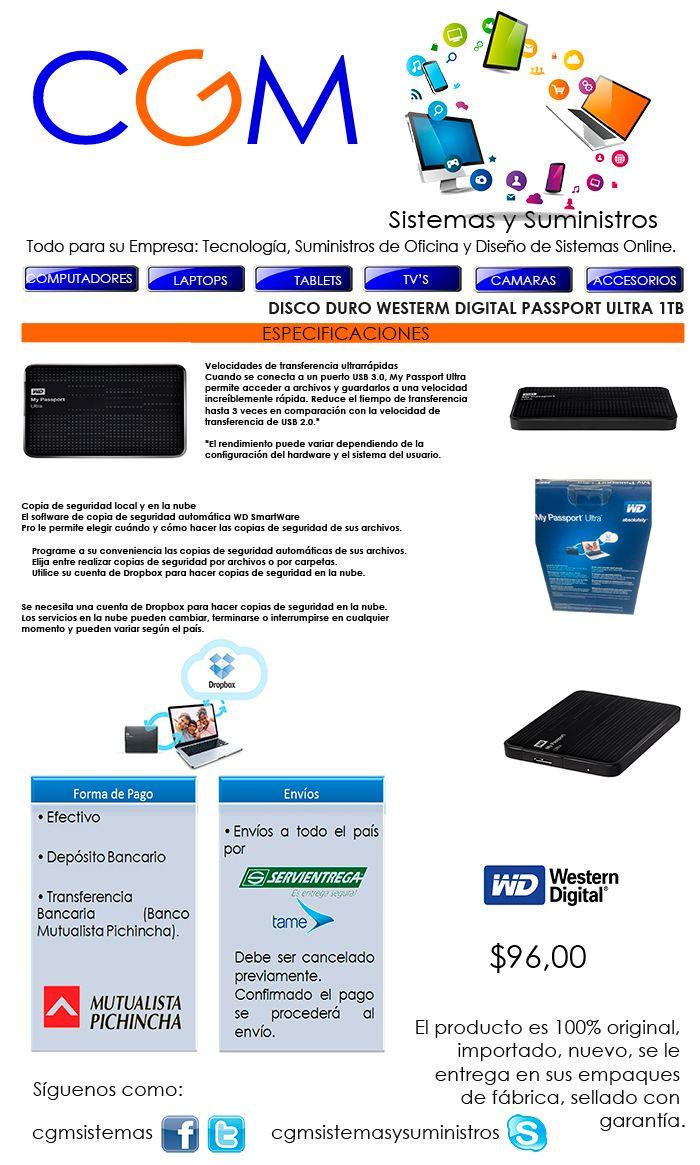 Disco Duro Westerm Digital Passport Ultra 1tb