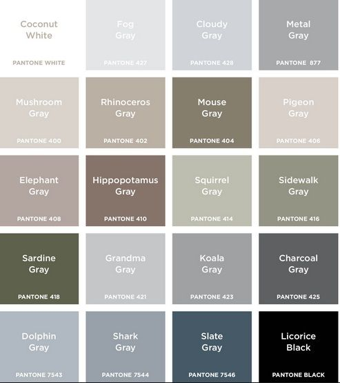 Colour names grey google search colour pinterest Different colours of grey paint