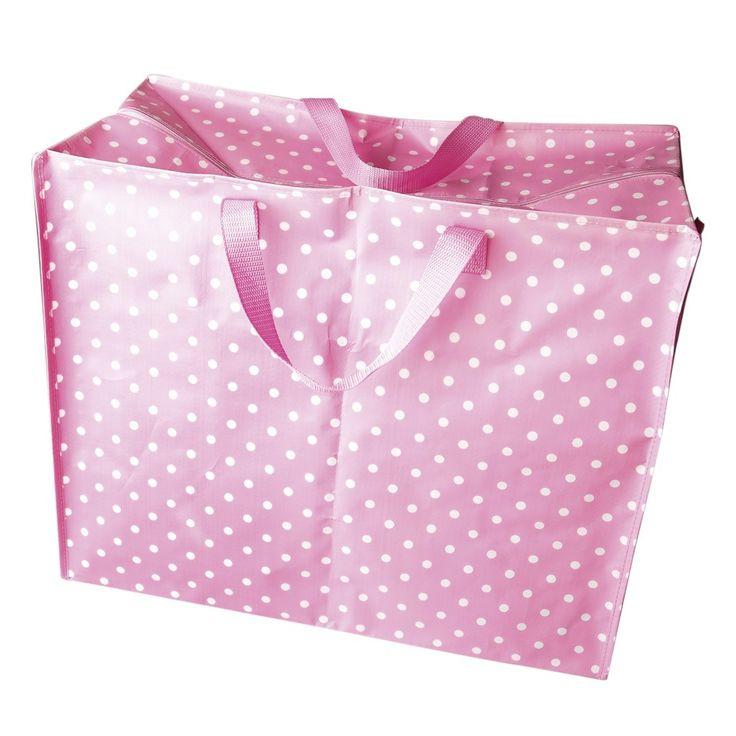 Jumbo Bag Pink Polkadot Dotcomgiftshop Nursery Large Storage Bags Bag Storage Sleepover Bag