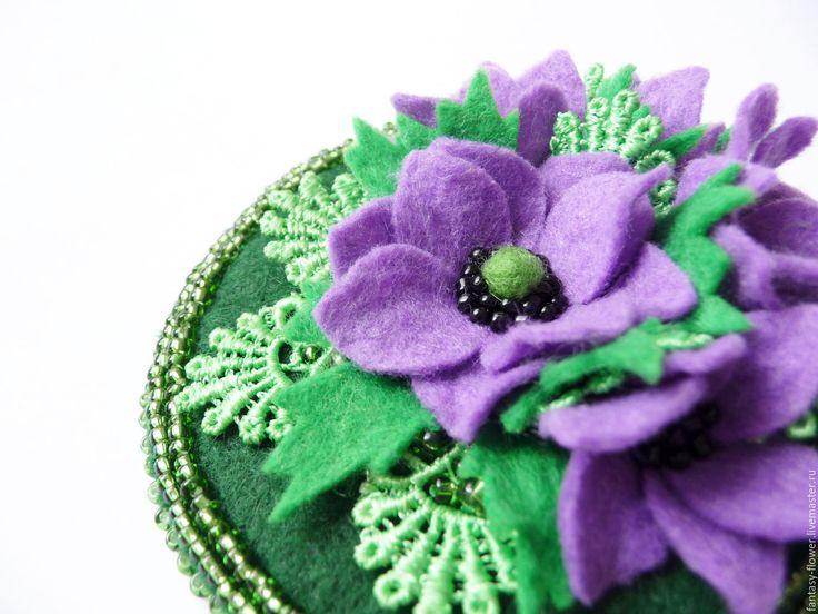 """Купить Брошь""""Анемоны"""" - фиолетовый, анемоны, цветы, брошь, брошь ручной работы, брошь с цветами"""
