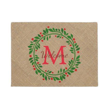 #Red Berry Wreath and Burlap Monogram Doormat - #doormats #home & #living
