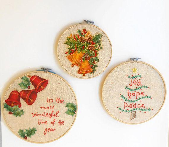 Christmas decor holiday decor embroidery hoop art Christmas decoration Christmas quote Christmas embroidery frame quote modern embroidery