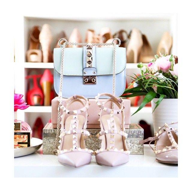 valentino rockstud pumps and handbag | nude pumps | light blue handbag | mini handbag trend | shoe closet | womens outfit ideas | fashion | style