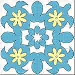 日本ハワイアンキルト製作所:ピロー:魚や動物のパターン 4ペパーミント・茶・白