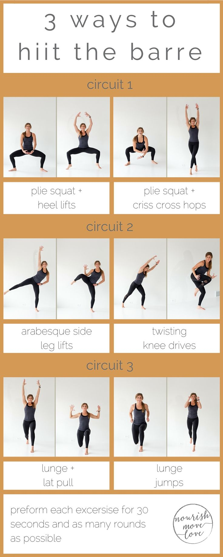 Try this barre and HIIT combo workout combining basic barre moves with high intensity interval training to strengthen and tone while increasing your metabolism and endurance.