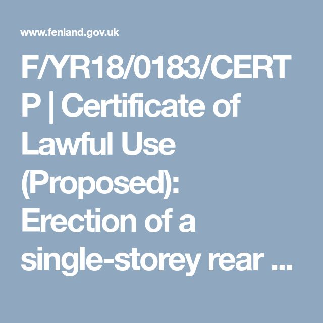 F/YR18/0183/CERTP      |                Certificate of Lawful Use (Proposed): Erection of a single-storey rear extension to existing dwelling involving removal of existing conservatory                    |                                                                                    15 St Pauls Drive Chatteris Cambridgeshire PE16 6DG