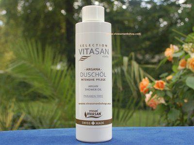 Vivasan Argana Duschöl. Das verwohnende Duschöl mit Arganöl, Mandelöl, Sonnenblumenöl und Vitamin E verfugt über außergewöhnliche pflegende Eigenschaften.
