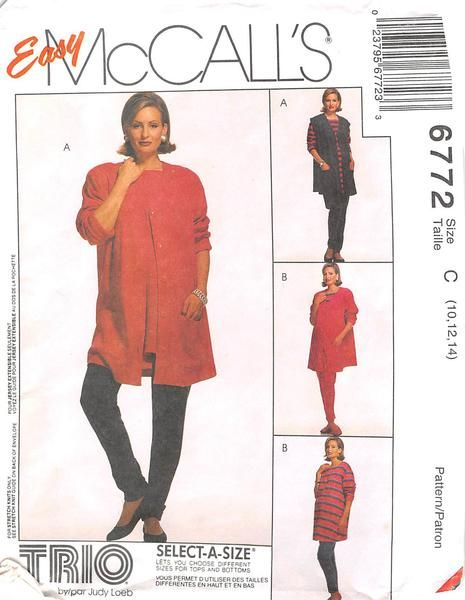 MCCALLS 6772 - FROM 1993 - UNCUT - MATERNITY CARDIGAN, VEST, TOP AND TROUSERS FOR STRETCH KNITS ONLY