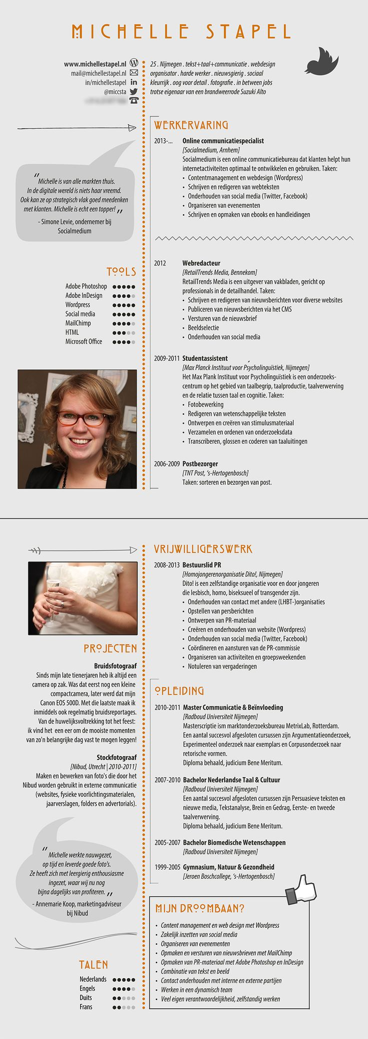 Een mooi vormgegeven CV. Dit CV heeft meegedaan aan de verkiezing van CV van de maand op www.sollicitatielab.nl
