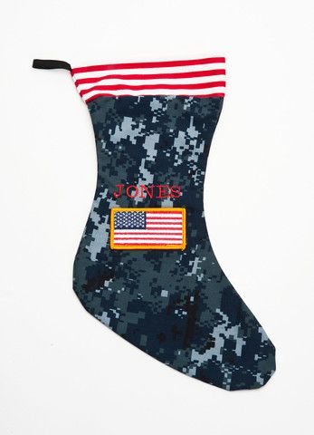 Christmas Stocking made from old military uniform. Customizeable at www.militaryapparelcompany.com