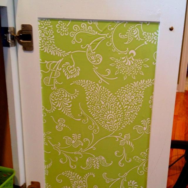 Contact Paper On Inside Of Cabinet Door.