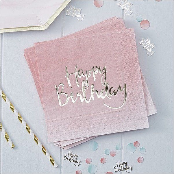 Pink and gold birthday party guests will love our ombre napkins with Happy Birthday printed in a script foil font! The perfect finishing touch to your special celebration. Fabulous Features: - Sold in