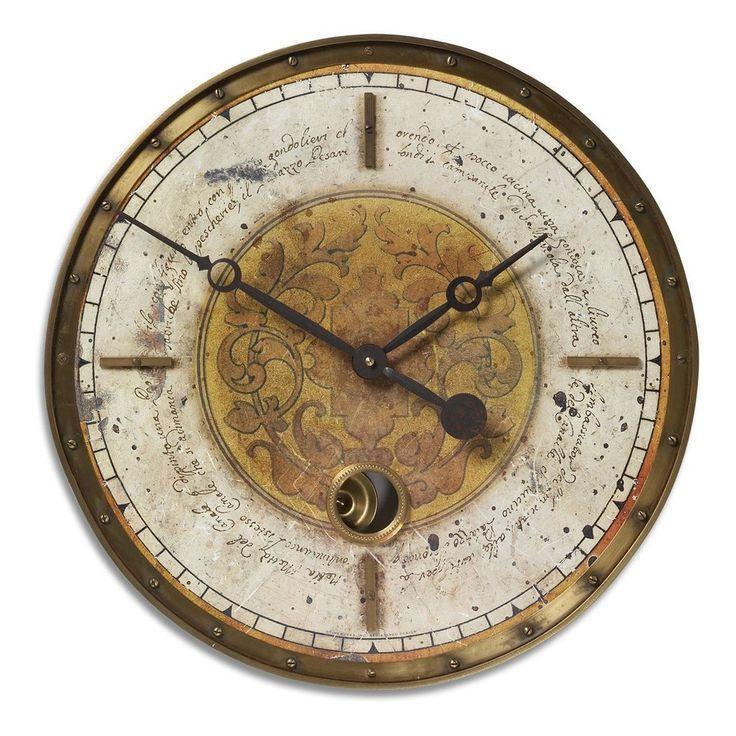 "Leonardo Script 18"" Cream Wall Clock"