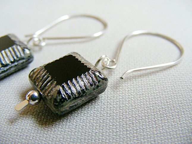 Just listed...handmade by tcupcreations...Argentium Sterling Silver and Czech glass bead earrings