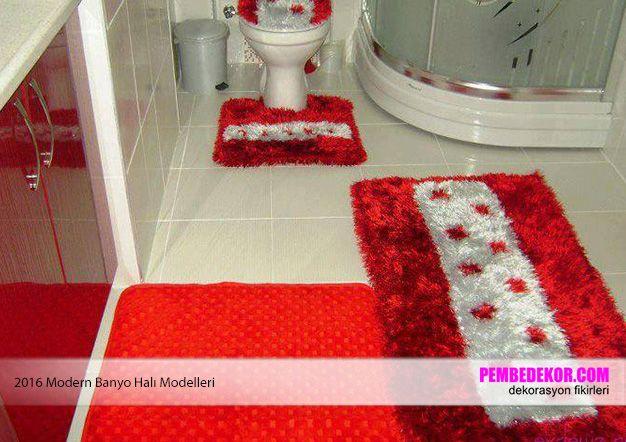 kırmızı banyo halı modelleri