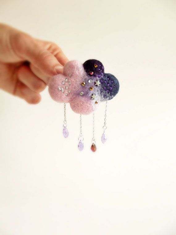 Rain Cloud in pink and Purple Hand Felted by ShishLOOKdesign