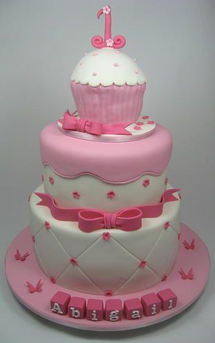 Cupcake three tiered 1st Birthday Cake by www.carryscakes.com.au