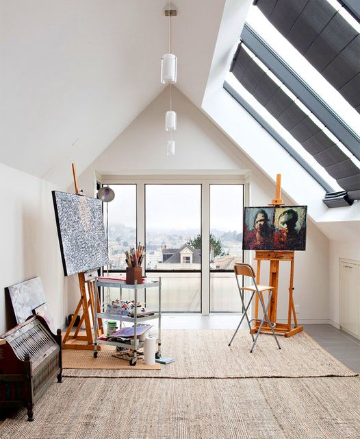 art studios small | Modern Home Art Studio Design Ideas for Upper Room