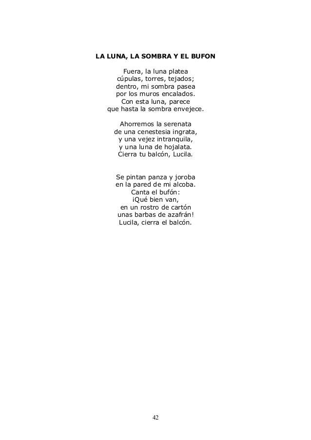 ''La luna, la sombra y el bufón'' es un poema de Machado que pertenece al libro ''Nuevas Canciones'' que fue publicado en 1924.  Hemos elegido éste poema porque nos ha gustado como el autor lleva esta composición a un cantar popular y algo que nos ha llamado la atención ha sido cuando dice; ''dentro, mi sombra pasea por los muros encalados''.