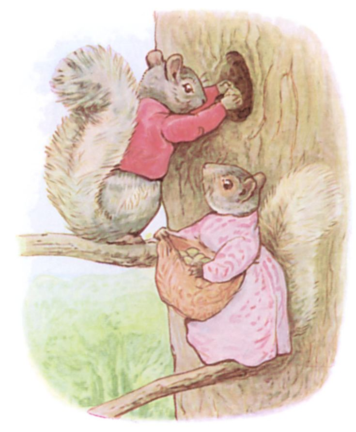 """Timmy Tiptoes sat out, enjoying the breeze; he whisked his tail and chuckled – """"Little wife Goody, the nuts are ripe; we must lay up a store for winter and spring."""" Beatrix Potter--"""