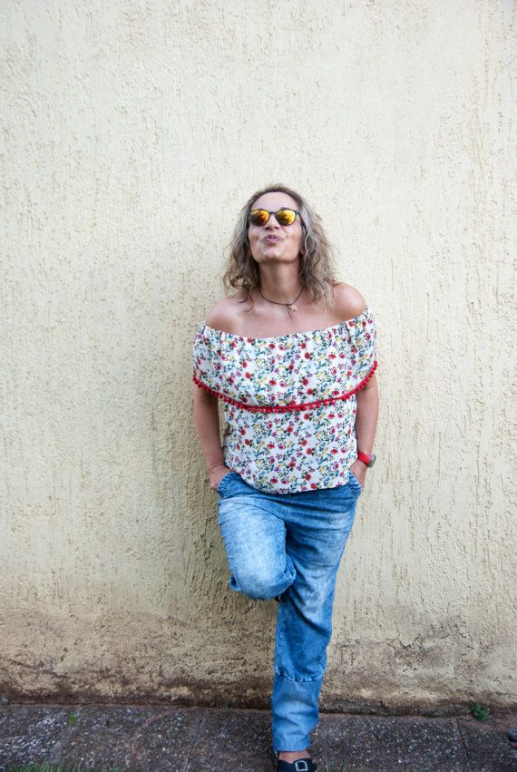 BARCELONA top Off-the-shoulder top. Pom by StitchesAndLoopsShop