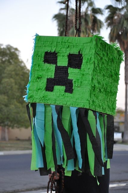 Cool Creeper piñata at a Minecraft party!   See more party ideas at CatchMyParty.com!  #partyideas #tminecraft