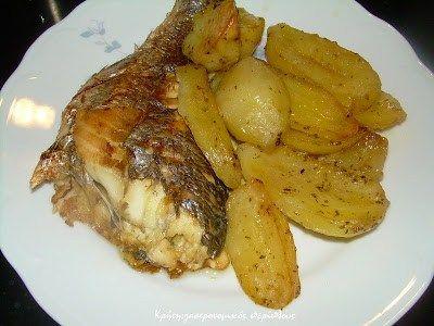 Ψάρι με πατάτες, λεμόνι και ρίγανη στο φούρνο - Κρήτη: Γαστρονομικός Περίπλους