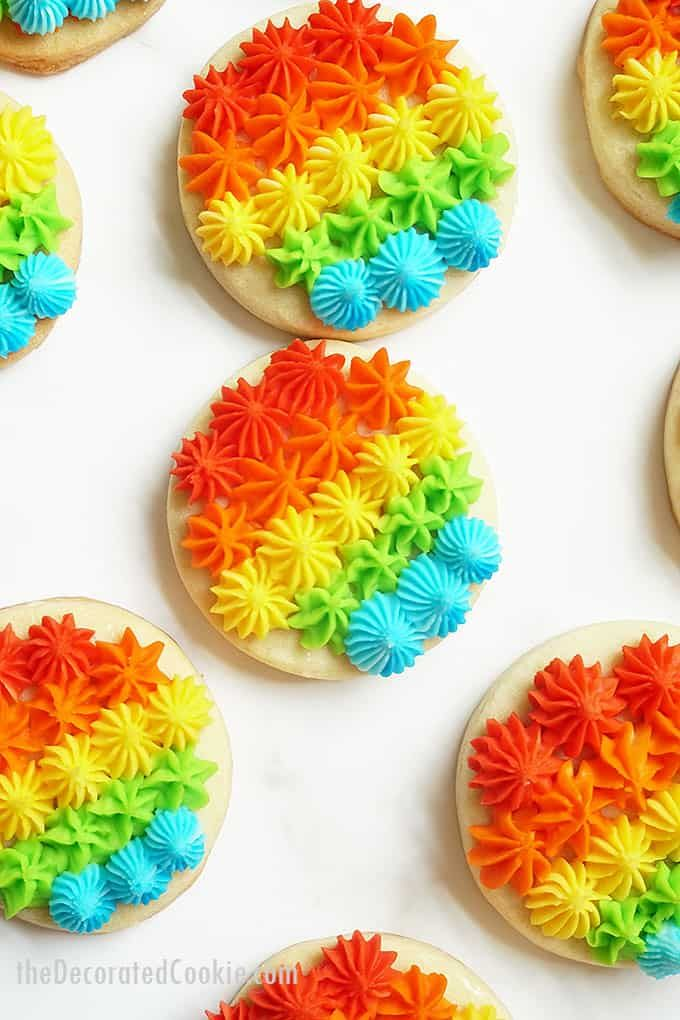 RAINBOW COOKIES. These gorgeous rainbow cookies, piped with frosting and open star decorating tips, are a fun dessert fo…