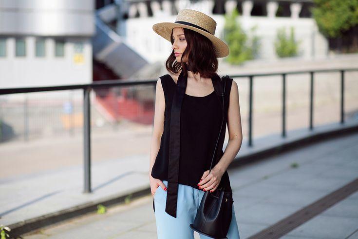 Sophia Horn Measurements: Sonya Karamazova, Skinny Scarf, Wide Leg Pants, Bucket Bag