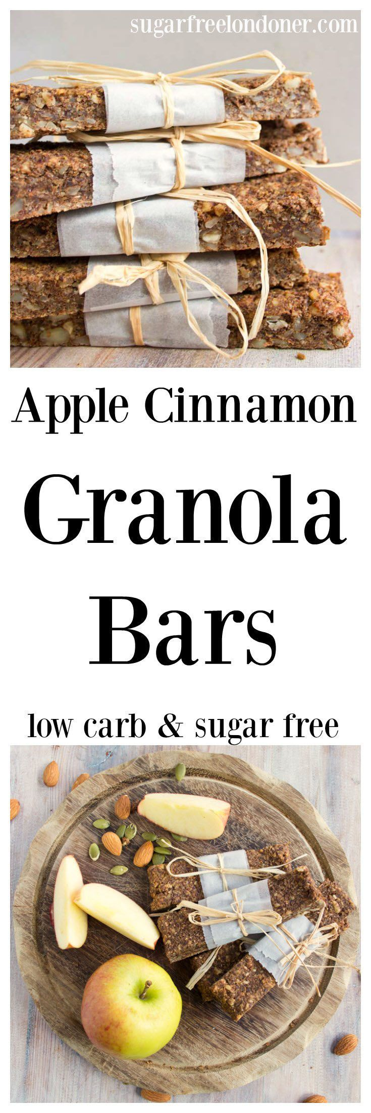 An insanely satisfying grab and go snack for busy days: These grain free, low carb and sugar free apple cinnamon granola bars can be made in advance. Chewy, nutty and perfect when for you're out and about.