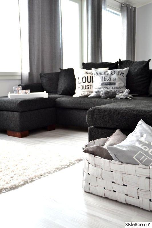 olohuone,skandinaavinen,sohva,mustavalkoinen,harmaa