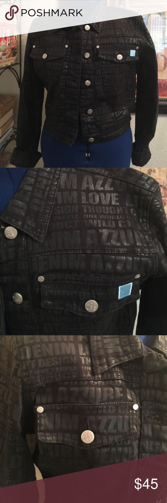 """Azzure Urban Cropped Black Jean Denim Jacket 98% cotton 2% spandex. wording phrases on Jacket AZZURE DENIM ; LOVE LIFE DENIM; CONCEPT DESIGN THOUGHT; ONE WORLD ONE THOUGHT ONE PEOPLE ; WILD CHILD PRODUCT.  Two button down front chest pockets.  Platinum colored metal buttons and rivets.   Tag size Large. Measurements:  24.75 Shoulder seam to end of cuff; Cuff  5.25"""";  Chest 20"""" underarm to underarm; Side length 10"""" underarm to hem;  Bottom hem 16.25"""" across side seam to side seam; Shoulders…"""