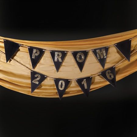 Black/Gold Prom 2016 Pennant-Prom Decorations