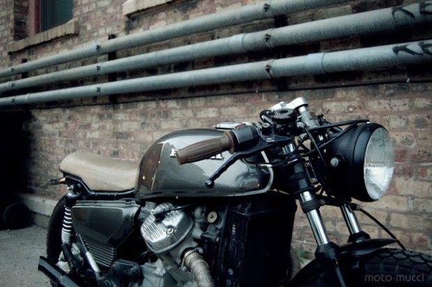 dark grey metallic cafe racer motorcycle | CX500 Cafe Racer | Custom Bobber | Custom Honda Motorcycle