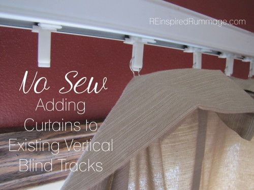 Easy way to spice up plastic vertical blinds! Add curtains without ever removing the blind track. | REinspiredRummage.com