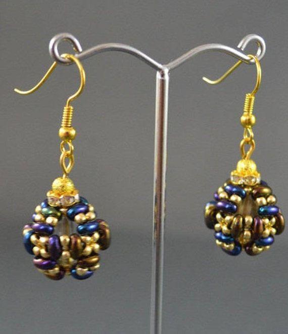 Dark blue gold ball earrings Round earrings Woven earrings