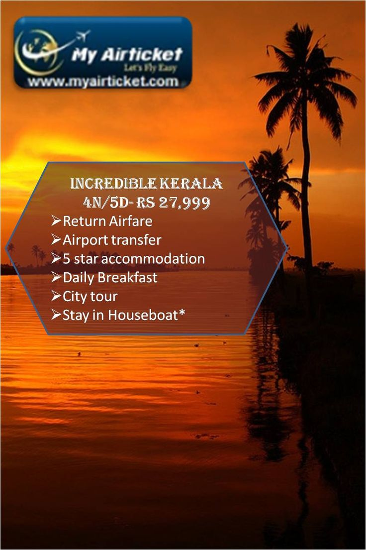 #Kerala - Majestic scenery of 'God's own country' . Breathtaking sunset views, Tea plantation of #Munnar , Serene and deep green #backwaters with the luxurious houseboat stay makes Kerala a daily dose of Awesomeness .  MyAirTicket helps you enjoy the divine beauty of Kerala at rock bottom #prices — at Kerala -GOD's Own Country. #godsowncountry #travel # tourism #India #backwaters #coastal #coconut #package #holiday #vacation http://ow.ly/F7Dd5